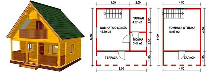 Каркасный дом 6х6 с мансардой