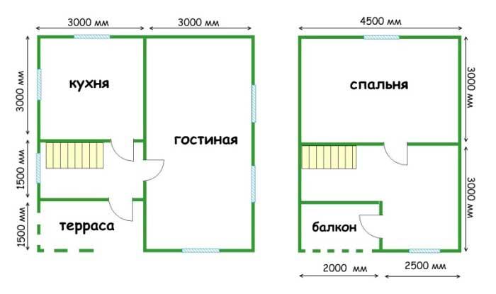 Проект каркасного дома 6х6
